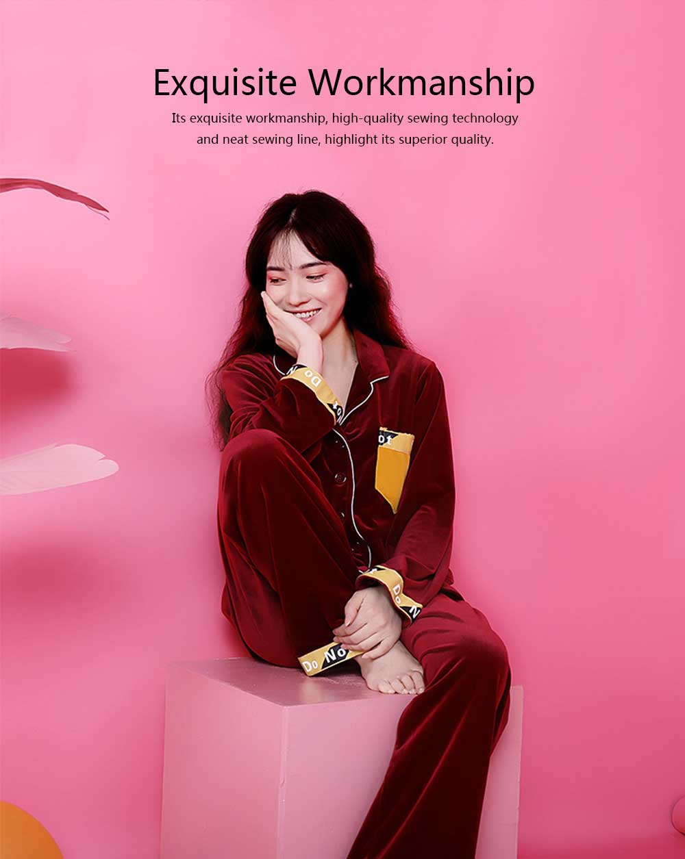 Women's Classic Lapel Long-sleeve Tracksuit, Soft Velvet Fabric Pajamas, with Interesting Printing Pattern 3