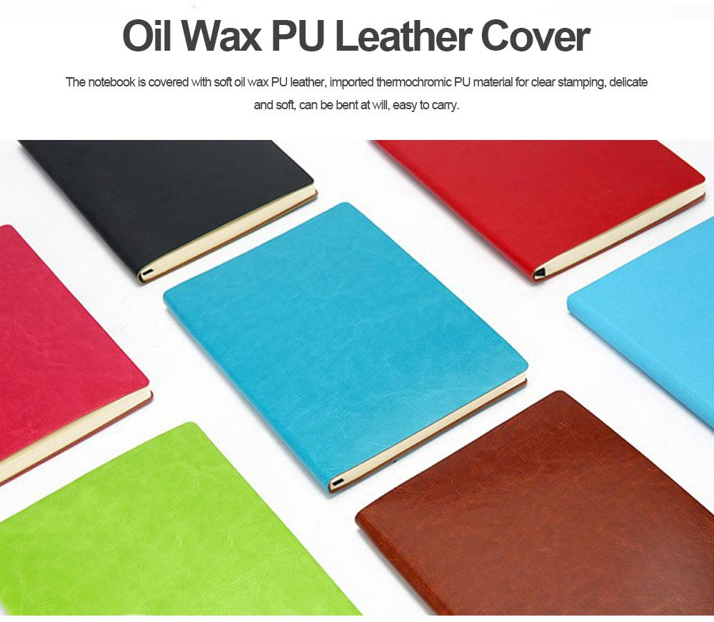 Classical PU Leather A5 Notebook Journal Diary, Uncoated Woodfree Paper Schedule Planner Memo Organizer 200 Pages 1