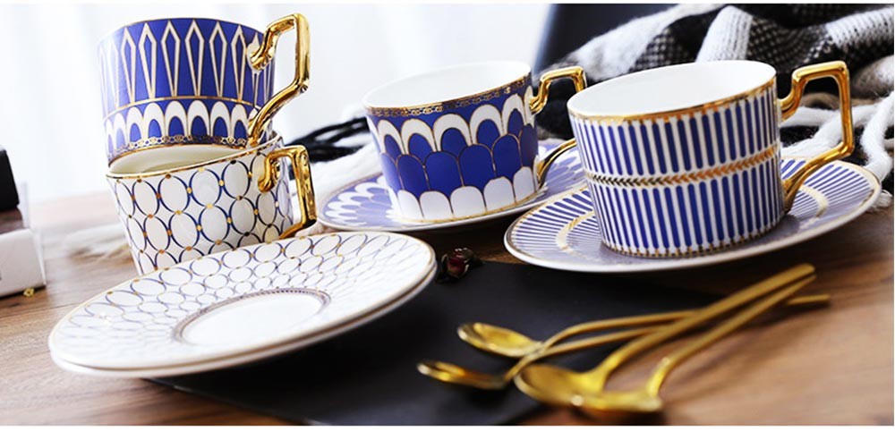 Ceramics Cups Sets - Tea Cup with Saucers Spoon, Exquisite Painting Porcelain Coffee Cups 18