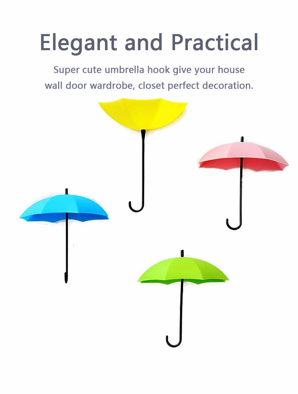 Umbrella Wall Hooks, Cute Little Sticky Hanging Hooks for Hat Purse Key Storage (3 packs) 5