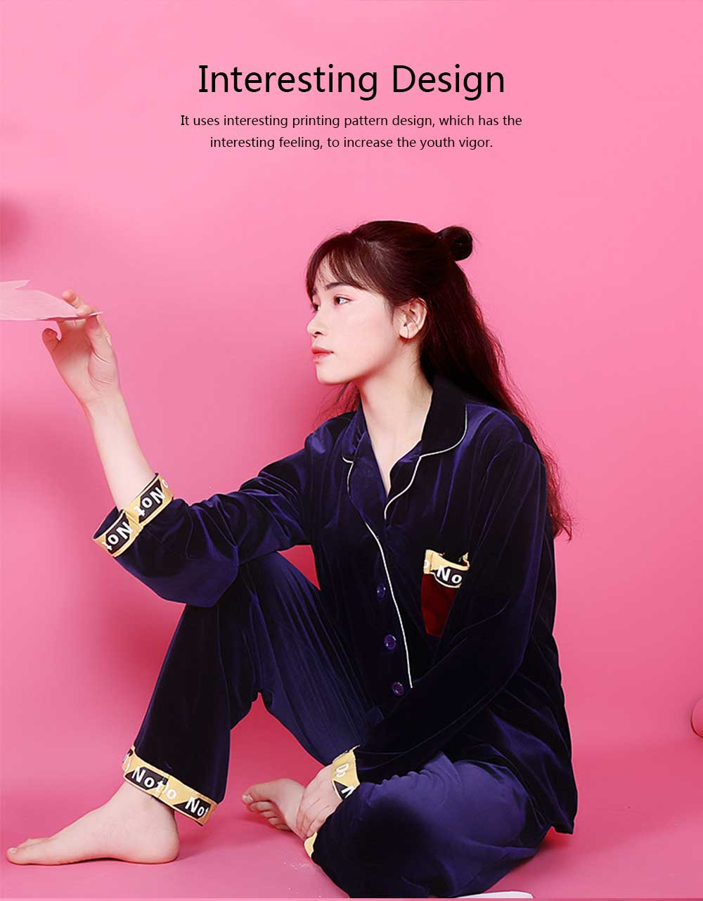 Women's Classic Lapel Long-sleeve Tracksuit, Soft Velvet Fabric Pajamas, with Interesting Printing Pattern 4