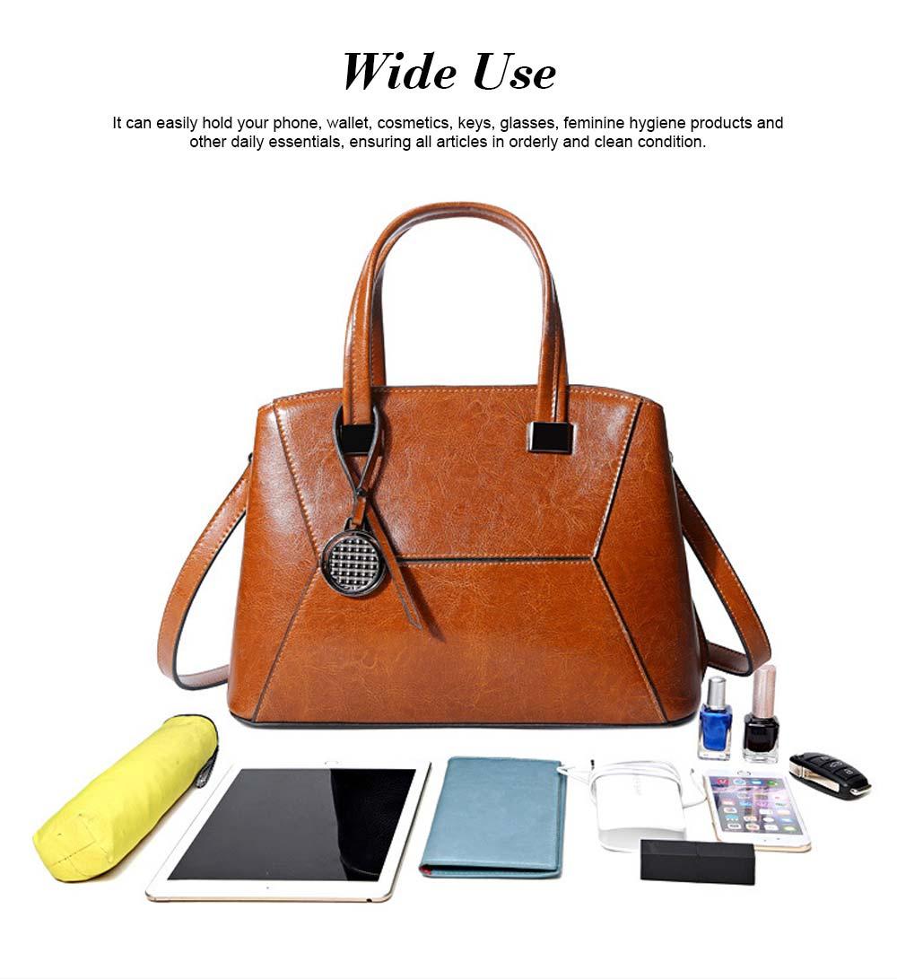 Oil Wax PU Leather Handbags With Detachable Shoulder Strap, Fashion Ladies Portable Slung Shoulder Bag 3