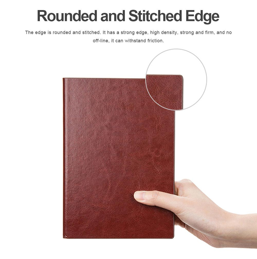 Classical PU Leather A5 Notebook Journal Diary, Uncoated Woodfree Paper Schedule Planner Memo Organizer 200 Pages 5