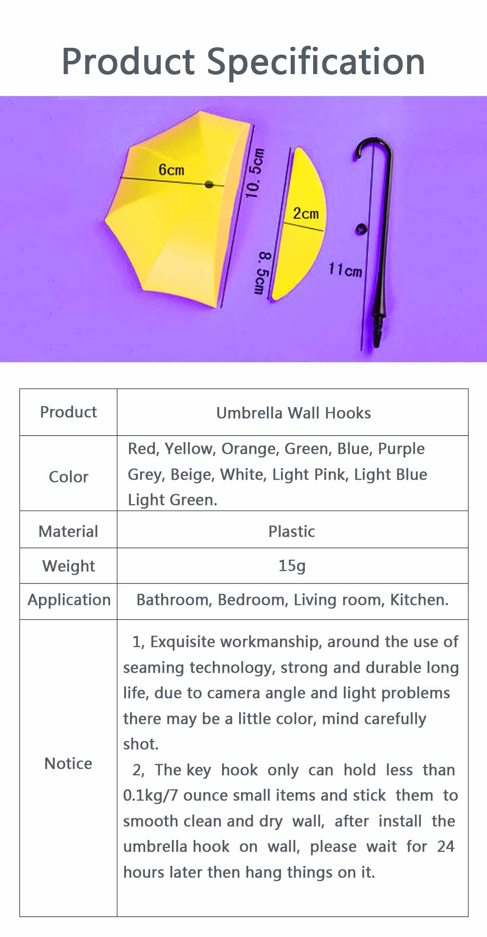 Umbrella Wall Hooks, Cute Little Sticky Hanging Hooks for Hat Purse Key Storage (3 packs) 8