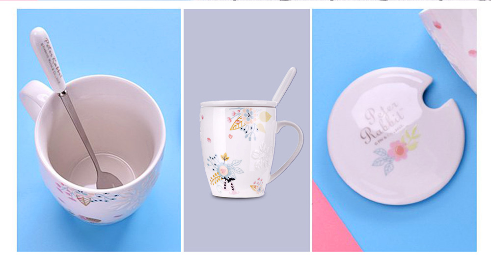 Ceramic Mug Embossed Painting with Cover Spoon for Office Water Coffee Porcelain Cup 4