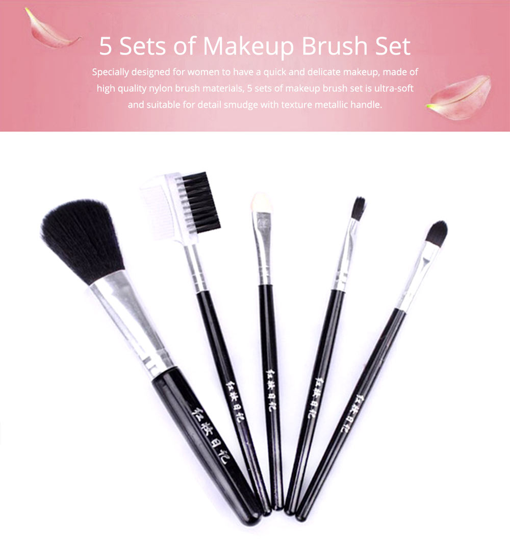 5 Sets of Makeup Brush Set with Texture Handle, Blush Foundation Brush Lips Brush Eyebrow Brush 0