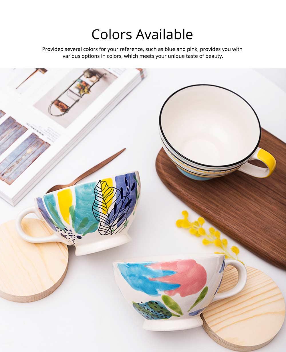 Ceramic Breakfast Mug, Large Capacity Porcelain cup for Water Juice Tea Food 12