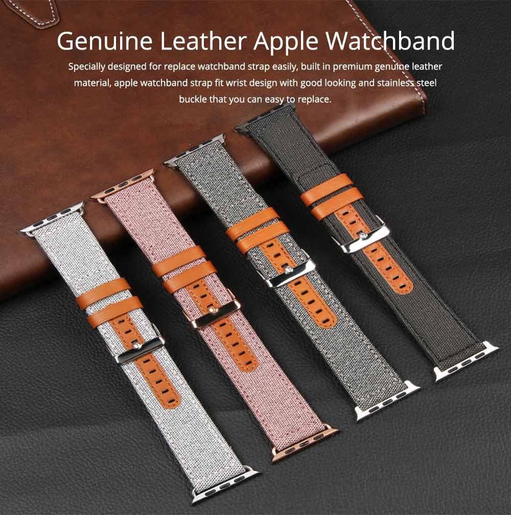 Genuine Leather Apple Watchband Strap with Stainless Steel Watch Buckle for Apple iWatch 1/2/3 0