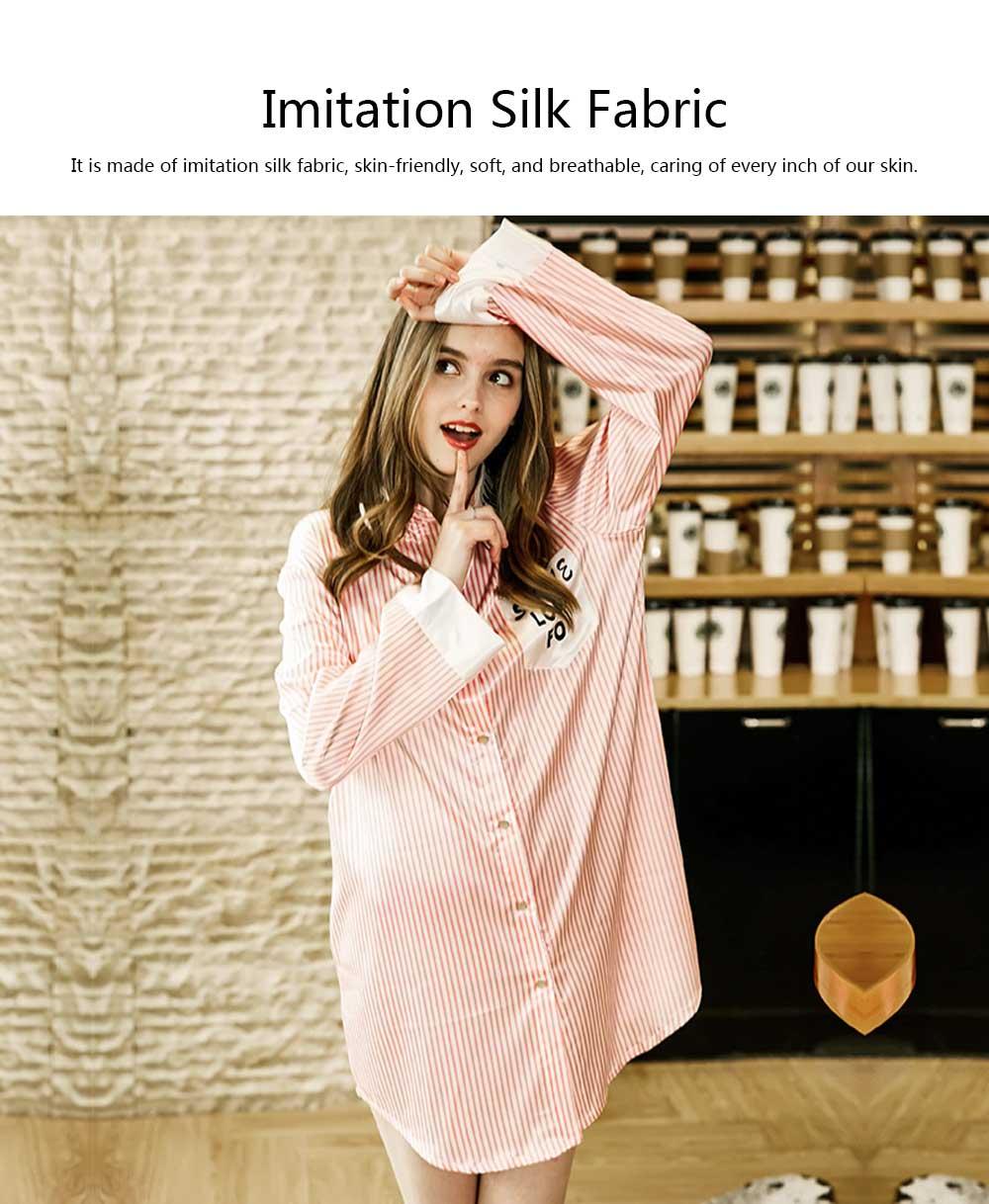 Girls Shirt-style Cardigan Pajamas, Long-Sleeved Imitation Silk Fabric Striped Tracksuit 3