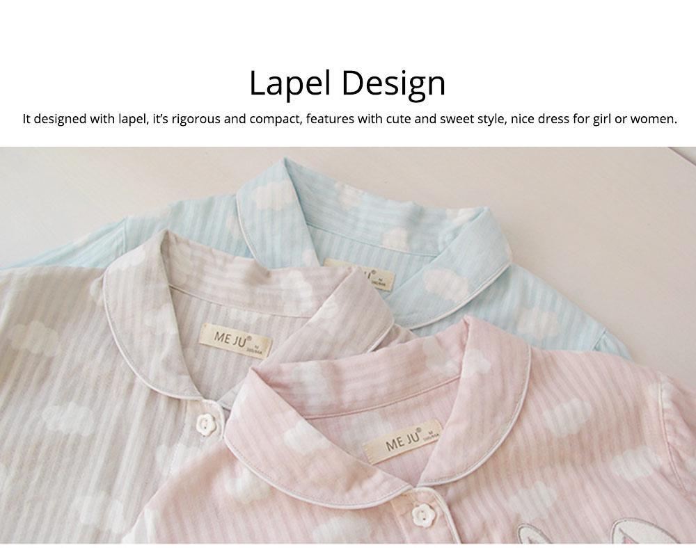 Sleepwear Fashionable Pajamas Set for Girl, Women Soft Long Sleeves Cotton Nightgown 2