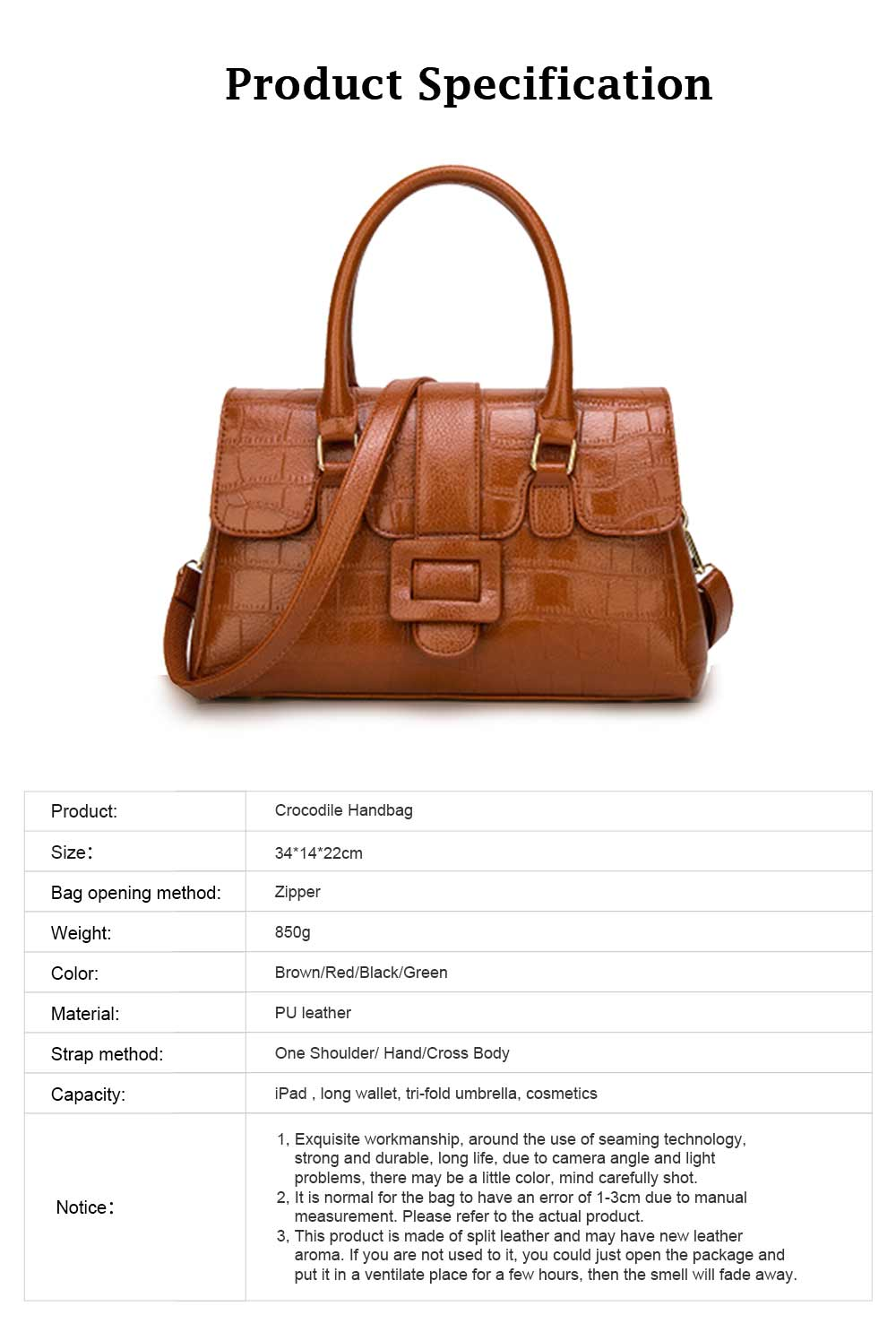 Crocodile Handbag with Magnetic Suction Buckle and Hardware Buckle, Fashion Simple Tote for Women 7
