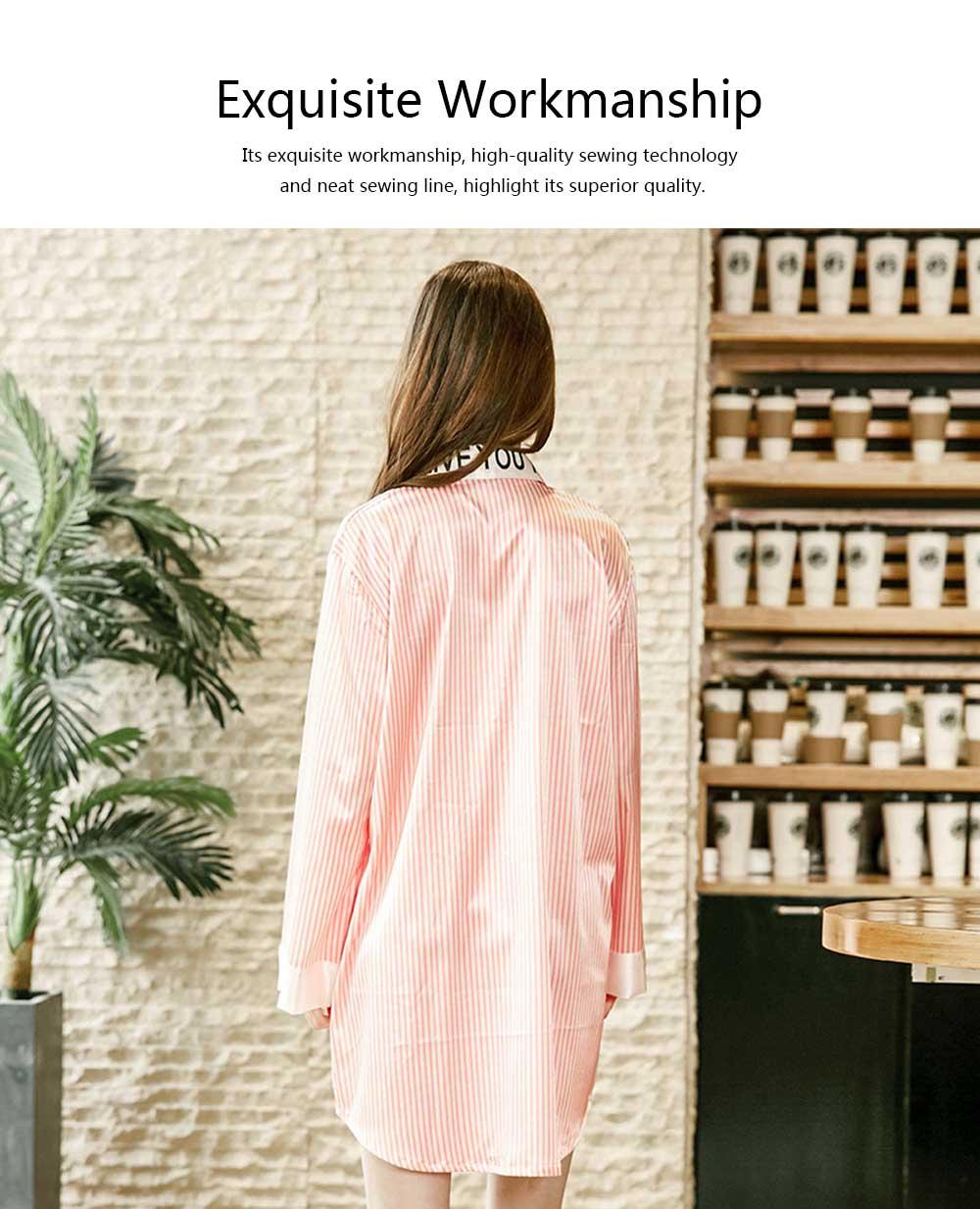 Girls Shirt-style Cardigan Pajamas, Long-Sleeved Imitation Silk Fabric Striped Tracksuit 2