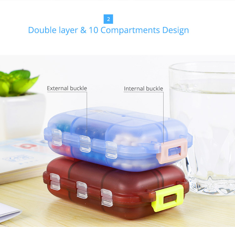 Tablet Medicine Vitamin Pill Organizer Box for Purse or Pocket, Bidear Portable Travel Pill Case, 10 Compartments 11