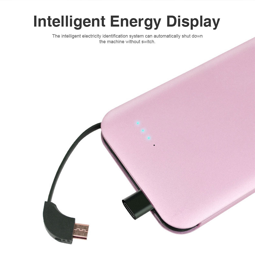 Portable Mental Power Bank, Ultra Thin 10000MAH Power Core with Retractable Data Cable 6