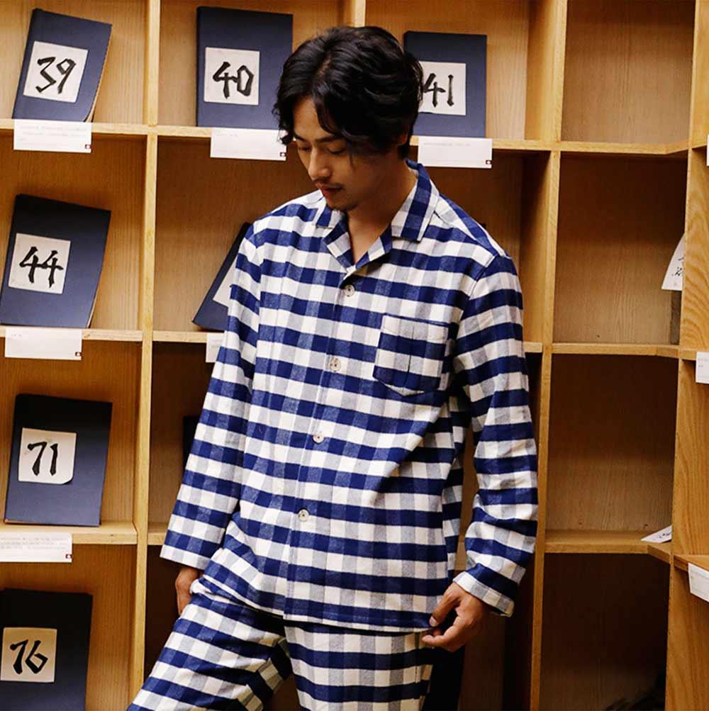 Stripe Nightgown Comfortable Pajamas Set for Men Long Sleeves Cotton Sleepwear Autumn Winter 5