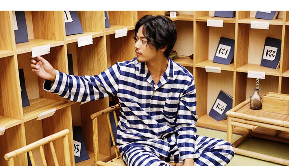 Stripe Nightgown Comfortable Pajamas Set for Men Long Sleeves Cotton Sleepwear Autumn Winter 3
