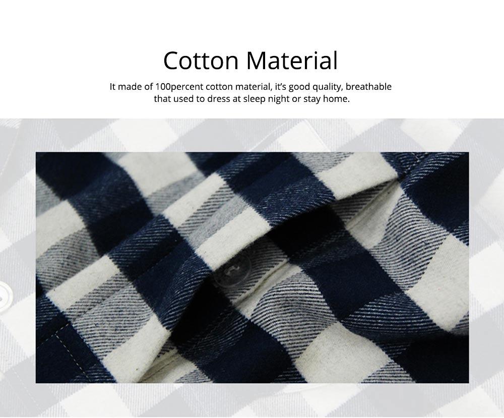 Stripe Nightgown Comfortable Pajamas Set for Men Long Sleeves Cotton Sleepwear Autumn Winter 1