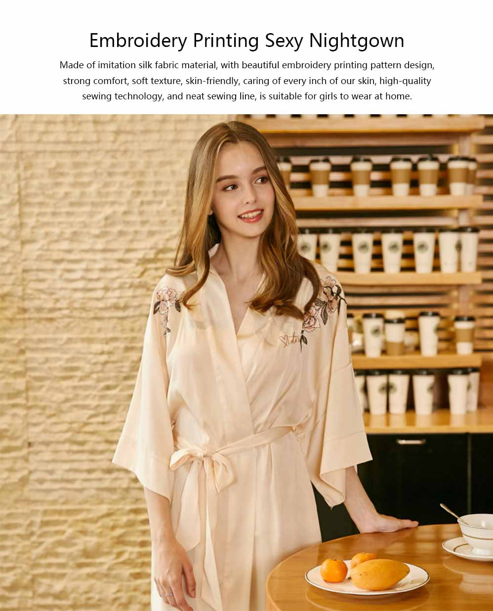 Peony Beautiful Embroidery Printing Sexy Nightgown, Female Summer Catwalk Imitation Silk Fabric Pajamas 0