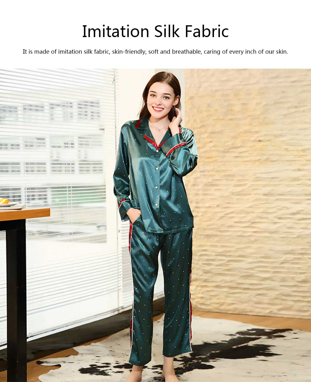 Breathable Soft Imitation Silk Fabric Pajamas, Women's Long-sleeve Trousers Printed Tracksuit 2019 3