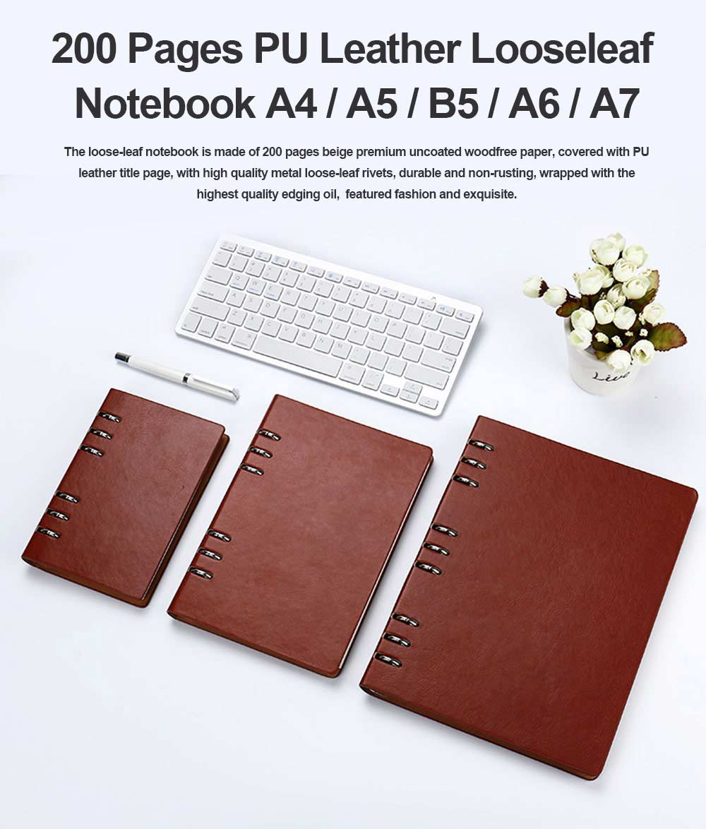 Dark Color A4/A5/B5/A6/A7 PU Leather Loose Leaf Notebook, Uncoated Woodfree Paper Spiral Binder Cover 200 Pages 0