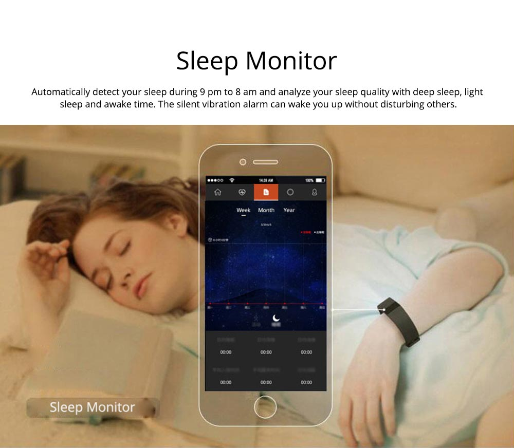 Fitness Smart Bluetooth Silicone Bracelet With Anti-loss Remote Photograph for Sleep Monitoring and Step Counting 4