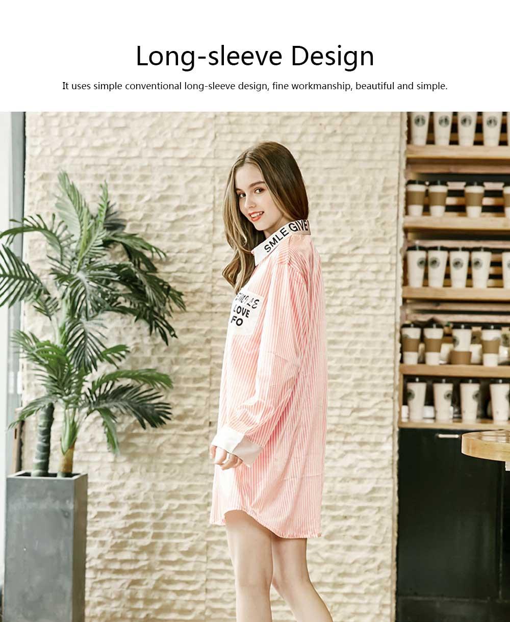 Girls Shirt-style Cardigan Pajamas, Long-Sleeved Imitation Silk Fabric Striped Tracksuit 1