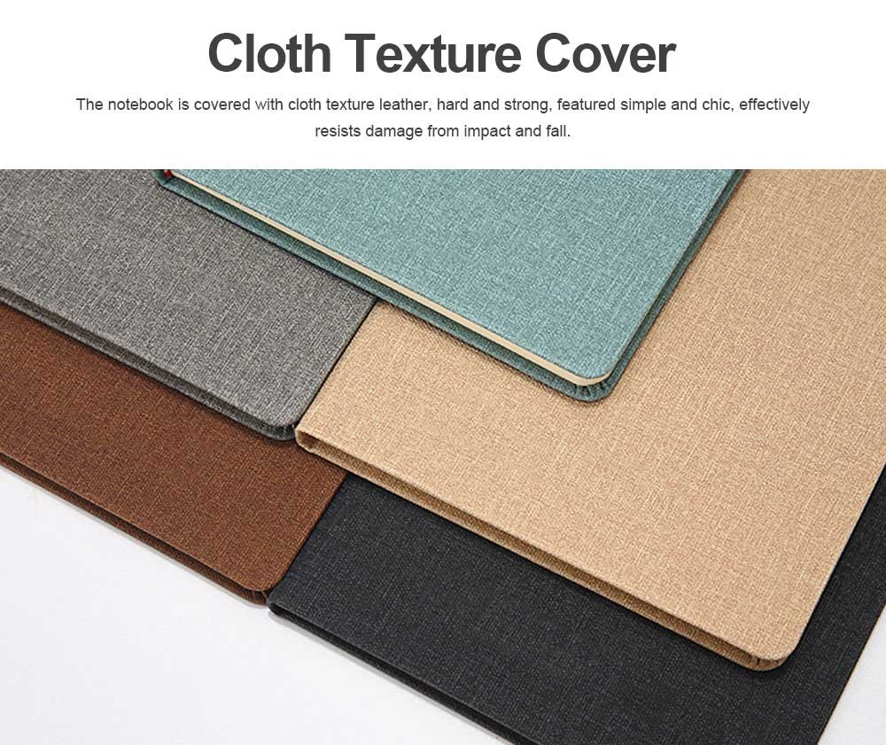 Cloth Texture Leather Notebook Gel Pen Set, Journal Diary Uncoated Woodfree Paper Schedule Planner Jotter Gift Pack 1