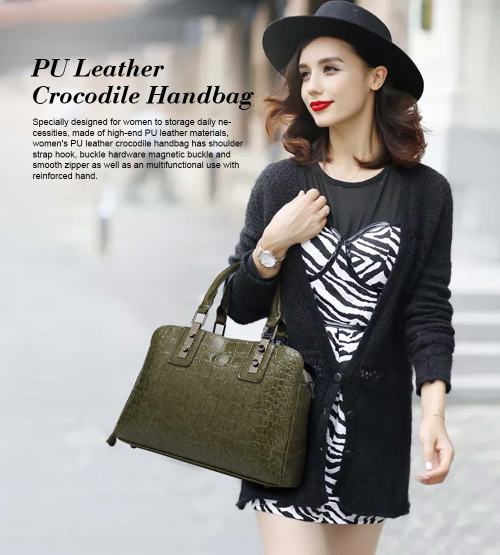 Women's PU Leather Crocodile Handbag With Magnetic Suction Button, Fashion Simple Tote With Large Capacity 0