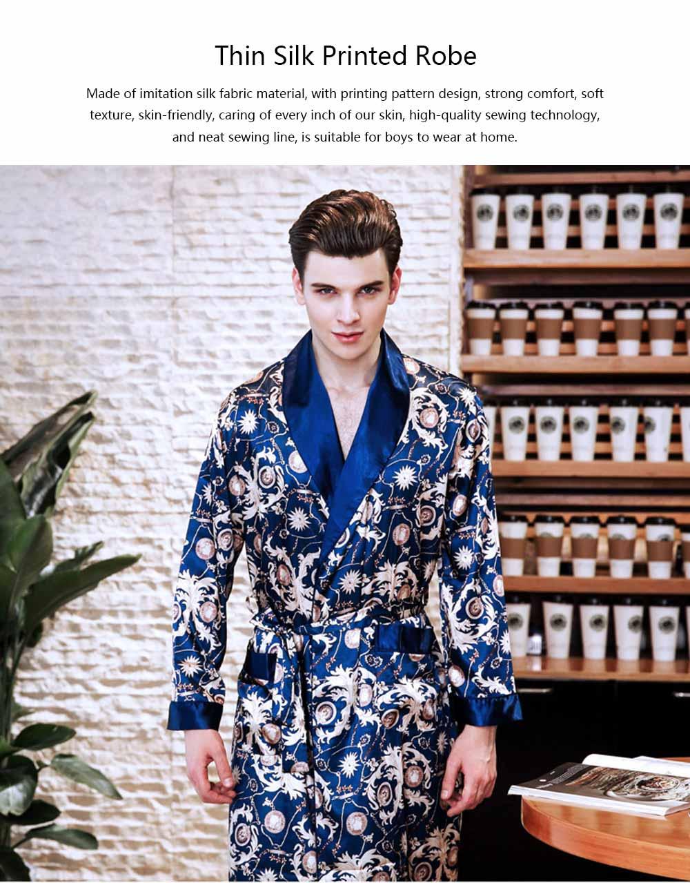 Men's Classic Lapel Shorts and Long Sleeve Pajamas, Thin Imitation Silk Fabric Classic Lapel Printed Robe 0