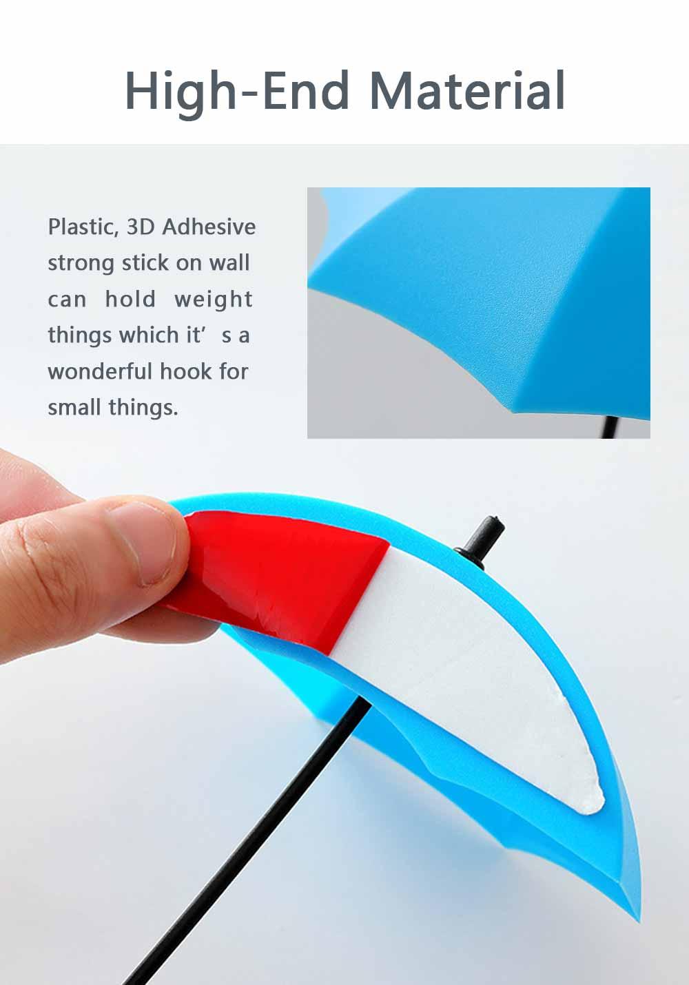 Umbrella Wall Hooks, Cute Little Sticky Hanging Hooks for Hat Purse Key Storage (3 packs) 2