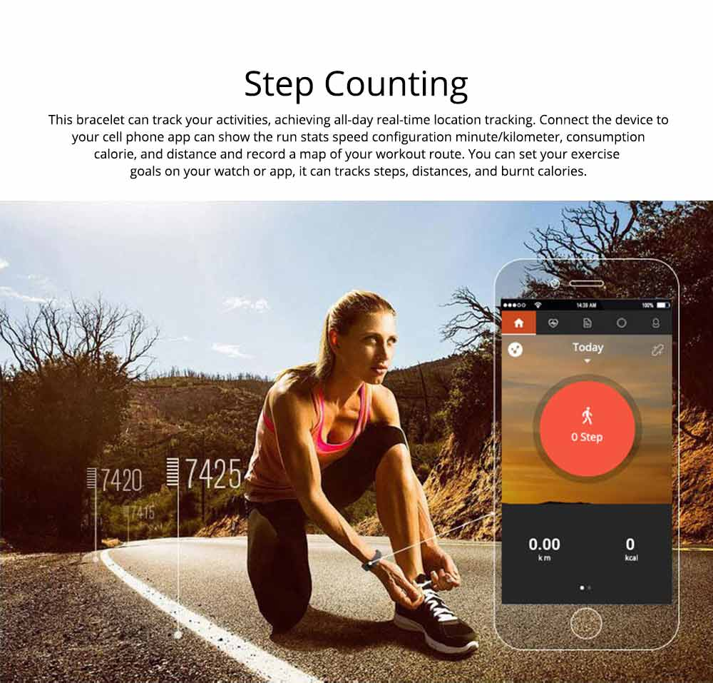 Fitness Smart Bluetooth Silicone Bracelet With Anti-loss Remote Photograph for Sleep Monitoring and Step Counting 6