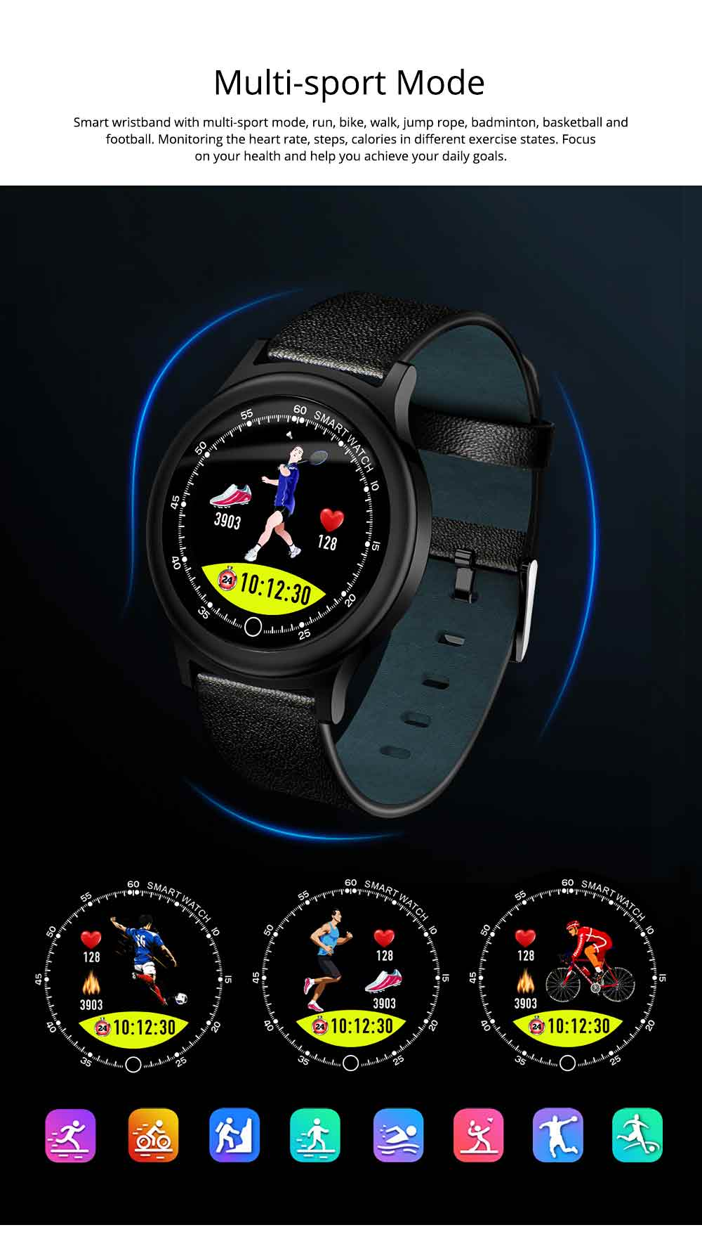 Smart Bracelet with Circle Color Screen for Heart Rate and Sleep Monitoring, Waterproof Business Bracelet 9