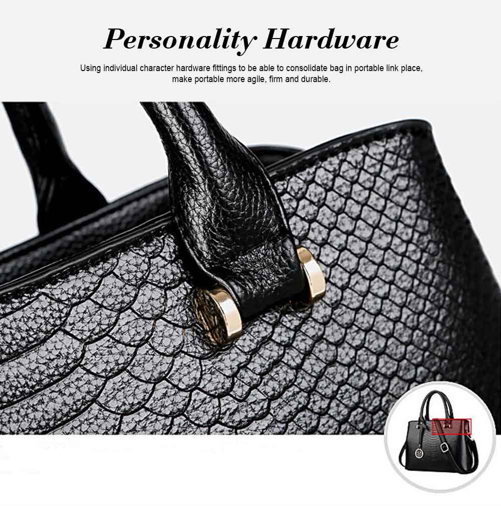 Leather Crocodile Pattern Fashion Handbag With Firm Hooks, Scratchproof Waterproof Messenger Bag for Middle-aged Mother 9