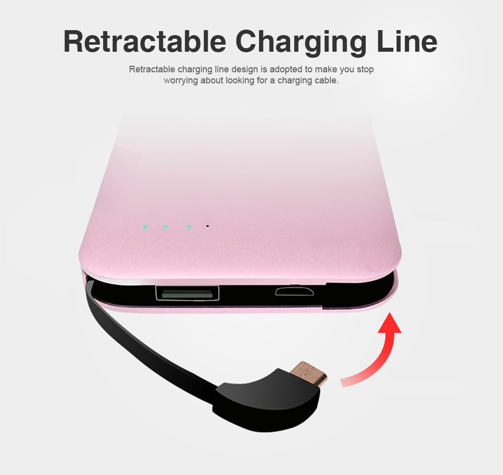 Portable Mental Power Bank, Ultra Thin 10000MAH Power Core with Retractable Data Cable 4
