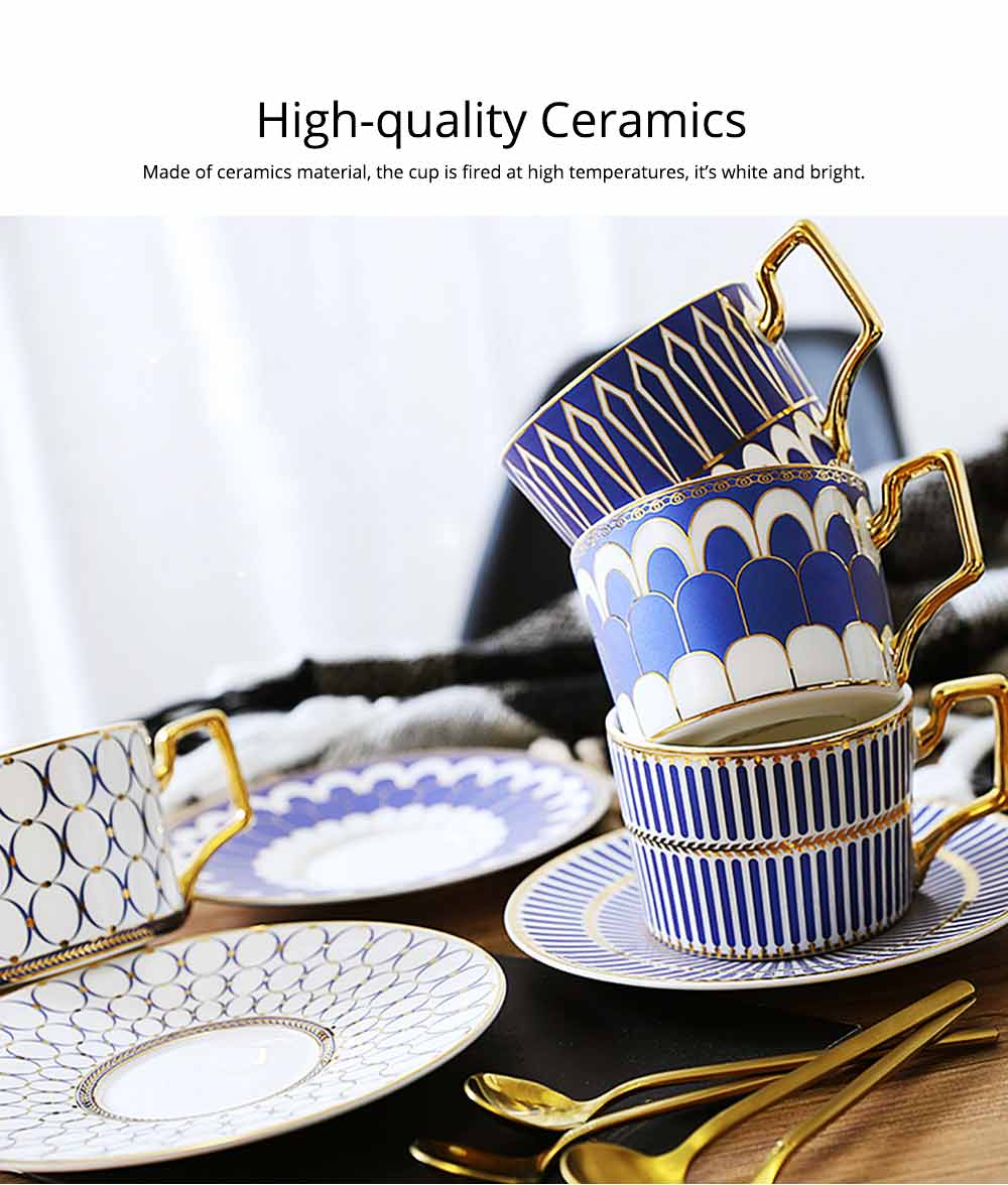 Ceramics Cups Sets - Tea Cup with Saucers Spoon, Exquisite Painting Porcelain Coffee Cups 2