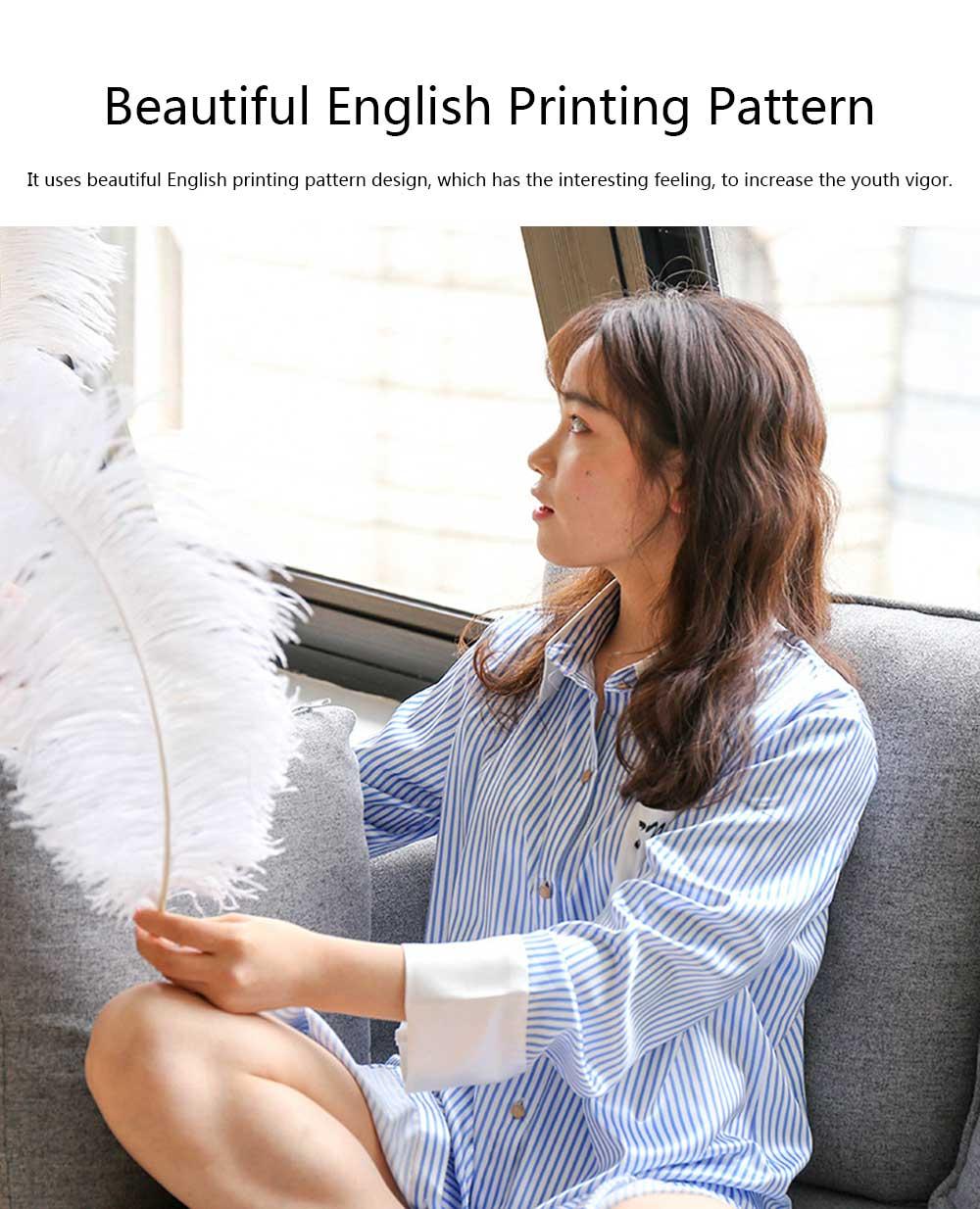 Girls Shirt-style Cardigan Pajamas, Long-Sleeved Imitation Silk Fabric Striped Tracksuit 4