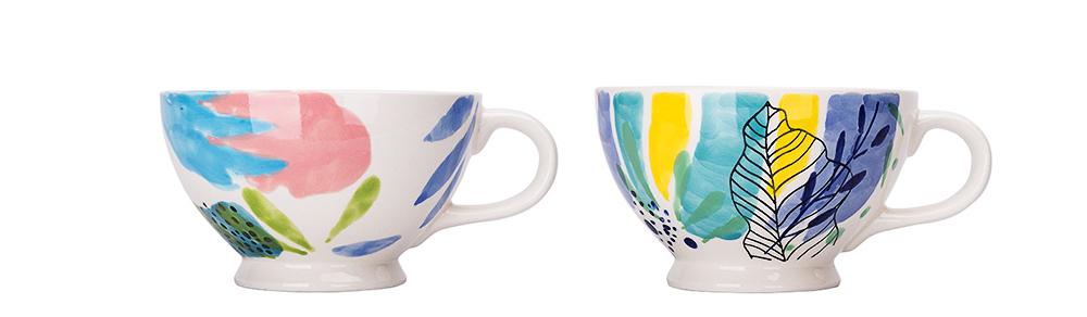 Ceramic Breakfast Mug, Large Capacity Porcelain cup for Water Juice Tea Food 18