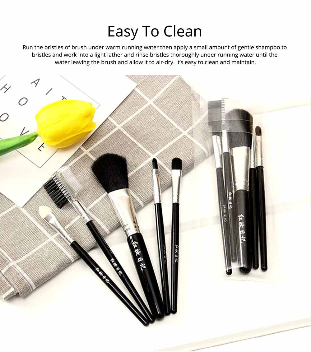 5 Sets of Makeup Brush Set with Texture Handle, Blush Foundation Brush Lips Brush Eyebrow Brush 4