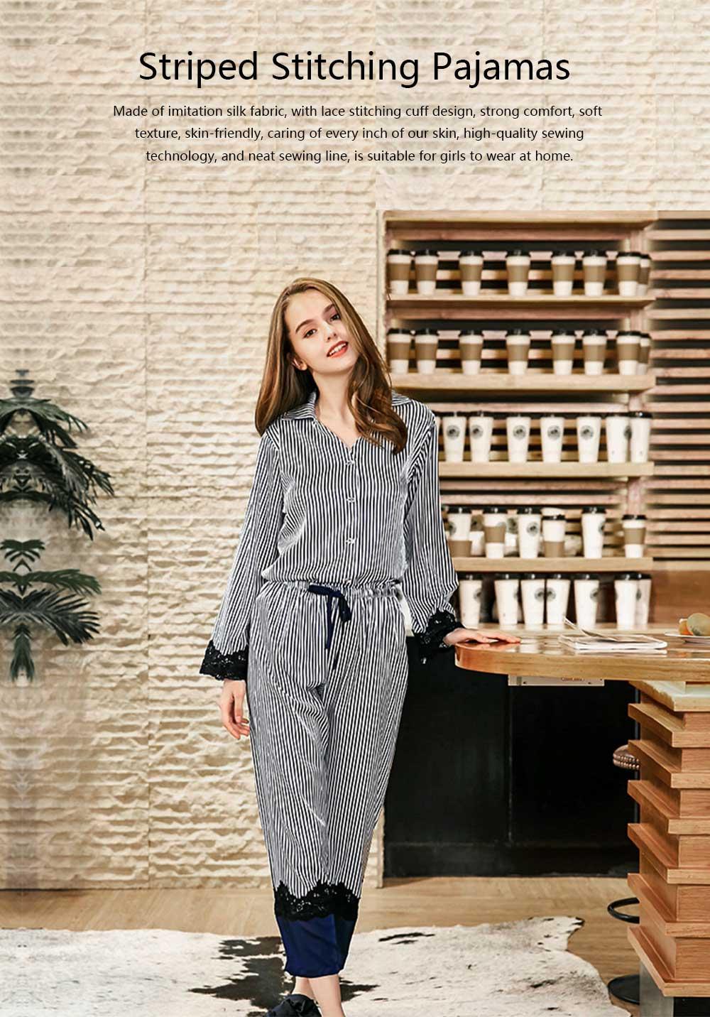 Soft Breathable Striped Stitching Pajamas, Female Imitation Silk Fabric Tracksuit set, Spring Autumn, 2019 0