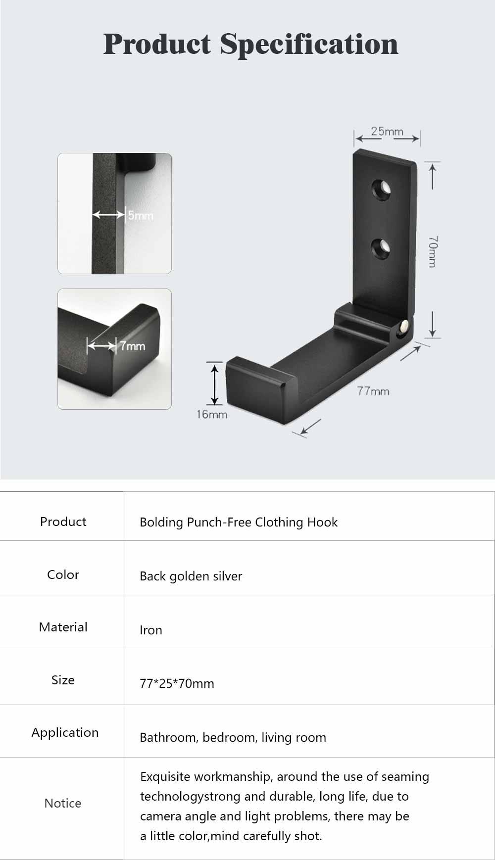 Metal Hook for Garments Tops Shorts Dress, Creative Folding Punch-Free Clothing Hook Universal Aluminum Hanger 6