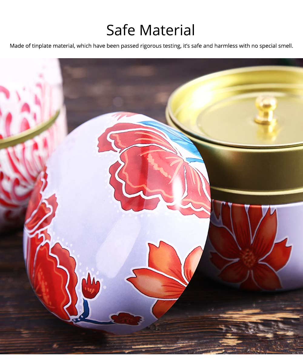 Round Caddy Sealed Storage Jar, Creative for Household Moisture-proof Portable Iron Canister 5