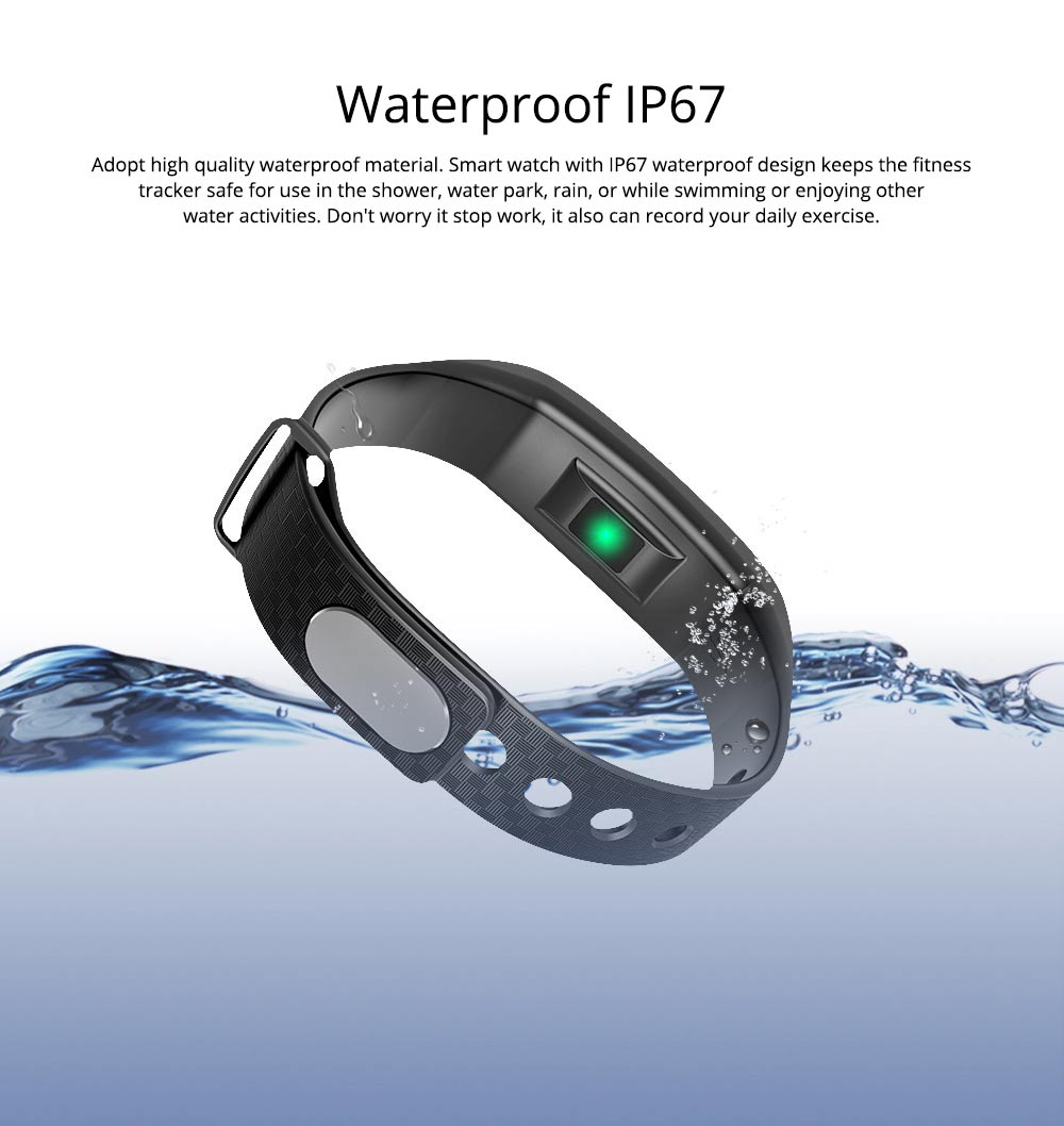 Color Screen Smart Bracelet, Step Counter Fitness Tracker with USB Quick Charge for Heart Rate Monitoring and Blood Pressure Monitoring 3