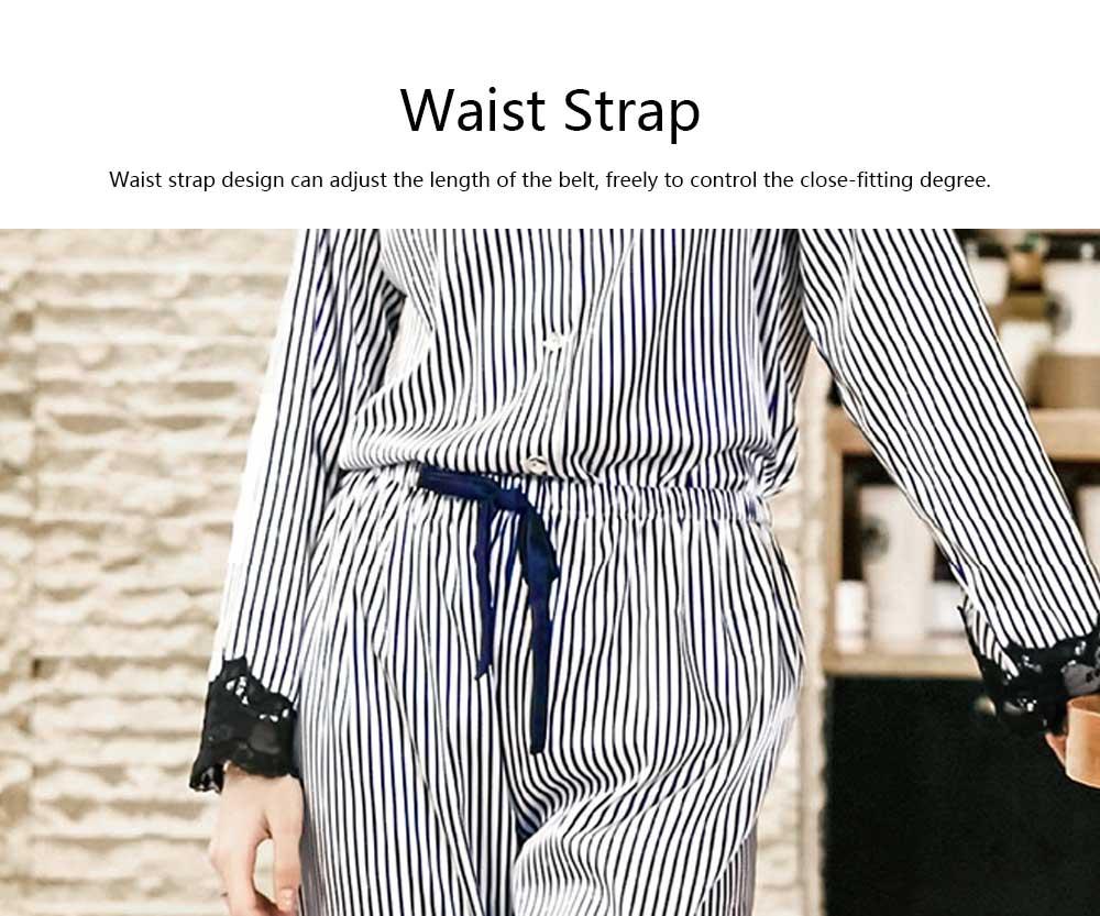 Soft Breathable Striped Stitching Pajamas, Female Imitation Silk Fabric Tracksuit set, Spring Autumn, 2019 6
