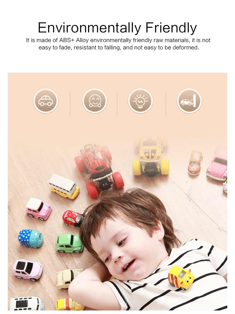 Children Toy Car Pull Back Car Set, Alloy Puzzle Car, Mobilization Q Version Mini Toy Car for Children 2