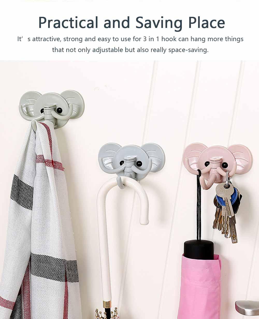 Cute Elephant Wall Sticky Hooks, Punch-Free, Waterproof Kitchen Bathroom Door Wall Hooks 5