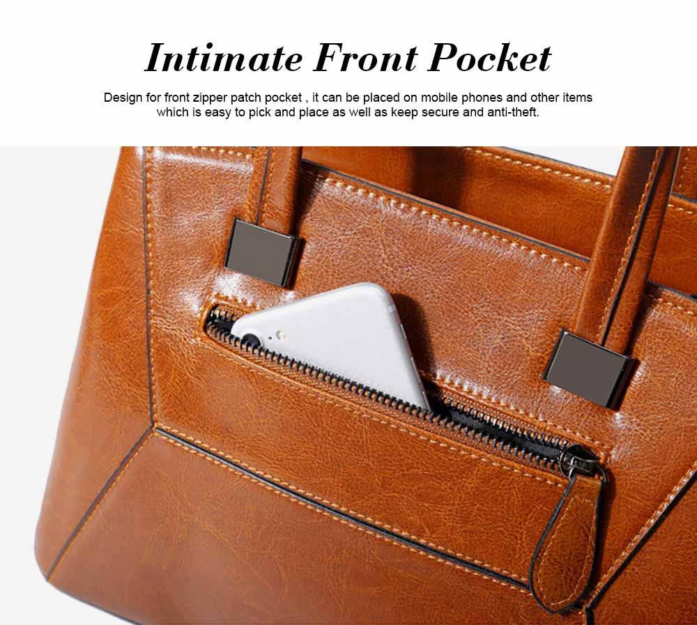 Oil Wax PU Leather Handbags With Detachable Shoulder Strap, Fashion Ladies Portable Slung Shoulder Bag 2