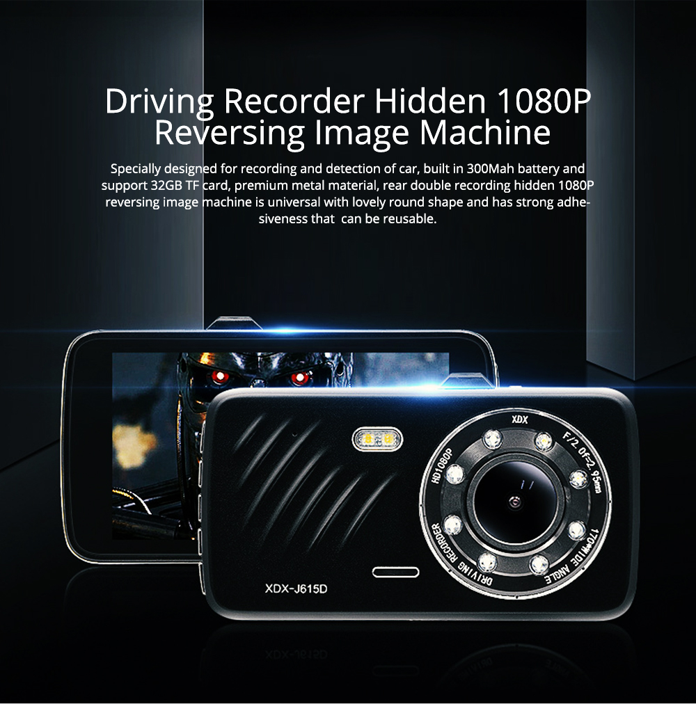 Driving Recorder 4 Inch Large Screen HD Front and Rear Double Recording Hidden 1080P Reversing Image Machine for Uber Taxi 0