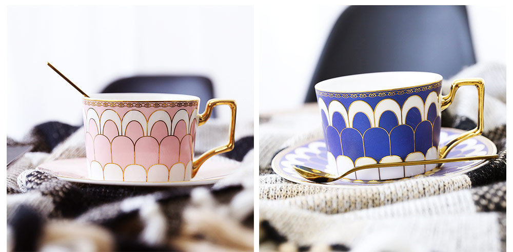 Ceramics Cups Sets - Tea Cup with Saucers Spoon, Exquisite Painting Porcelain Coffee Cups 15
