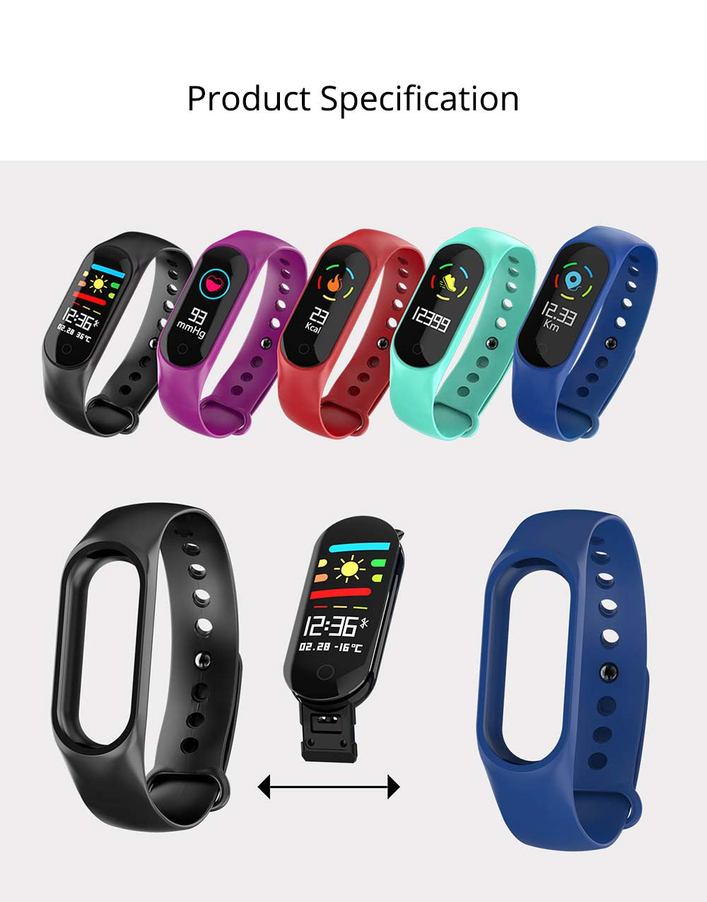 Waterproof Color Screen Smart Bracelet with Multiple-sports Modes for Heart Rate & Oxygen Monitoring 9