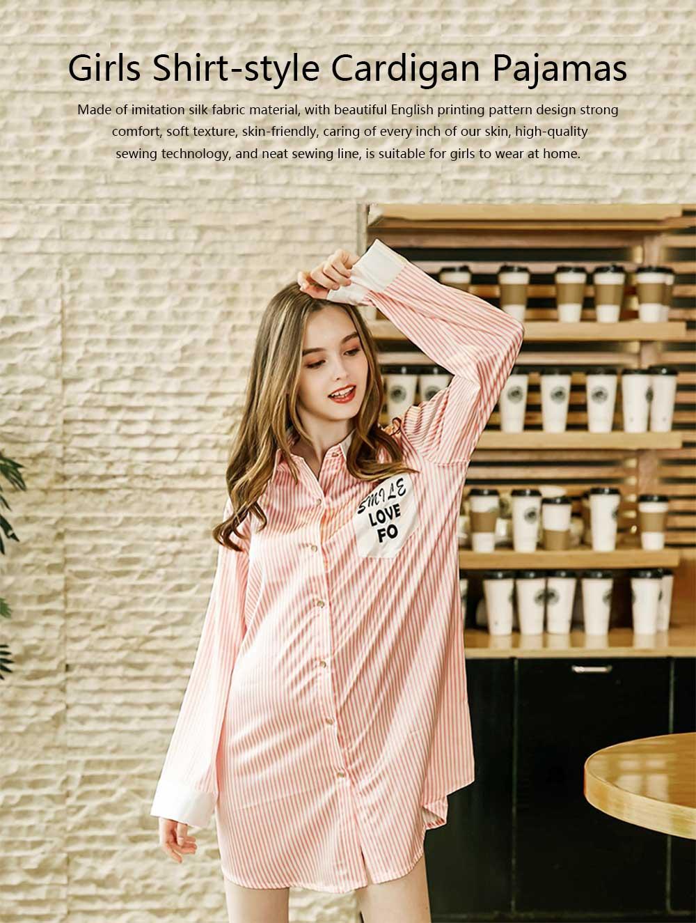Girls Shirt-style Cardigan Pajamas, Long-Sleeved Imitation Silk Fabric Striped Tracksuit 0